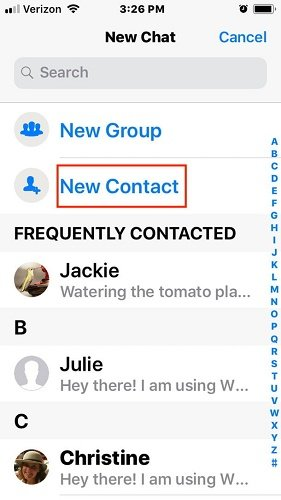 How to add a new contact to WhatsApp on iOS