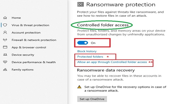Enable ransomware in Windows 10