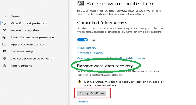 How to enable ransomware in Windows 10