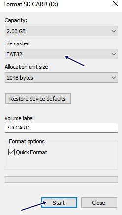Format the memory card using a computer