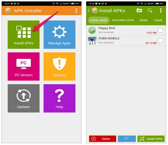 How can we install apps in groups on Android phones?