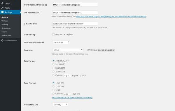 WordPress Common Settings