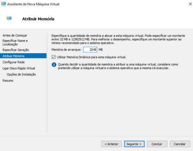 Alocar memória à Máquina Virtual