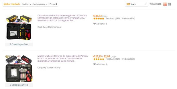 AliExpress - resultados de armazéns em Espanha