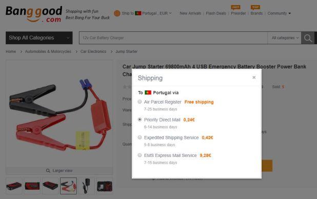 BangGood - Priority Direct Mail - Opção de envio segura para Portugal