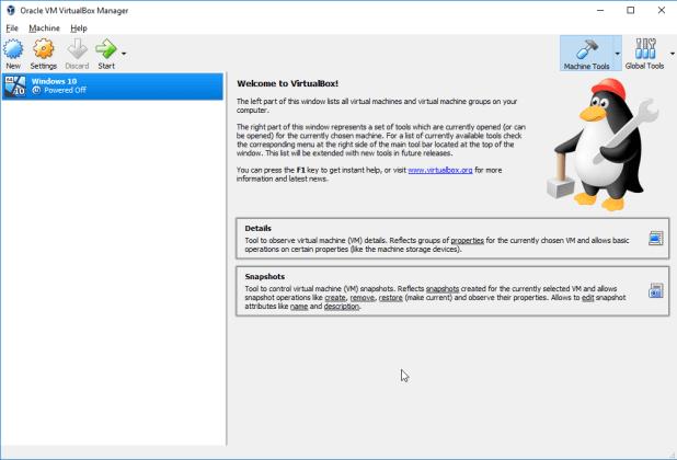 VirtualBox com uma máquina virtual criada