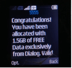Dialog 4G sim upgraded won 1.5GB