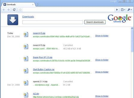 Google Chrome - Download management