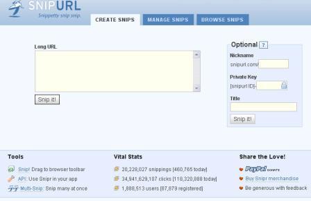 Snip URL Short URL Service Screenshot