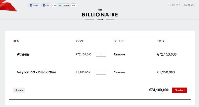 The billionaire shop check out