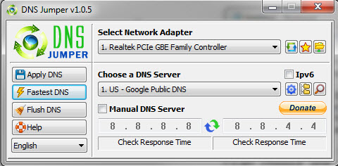 DNS Jumper application home page