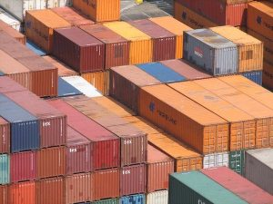 photograph of stacked shipping containers