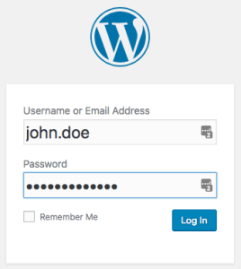 screen shot of the WordPress login form