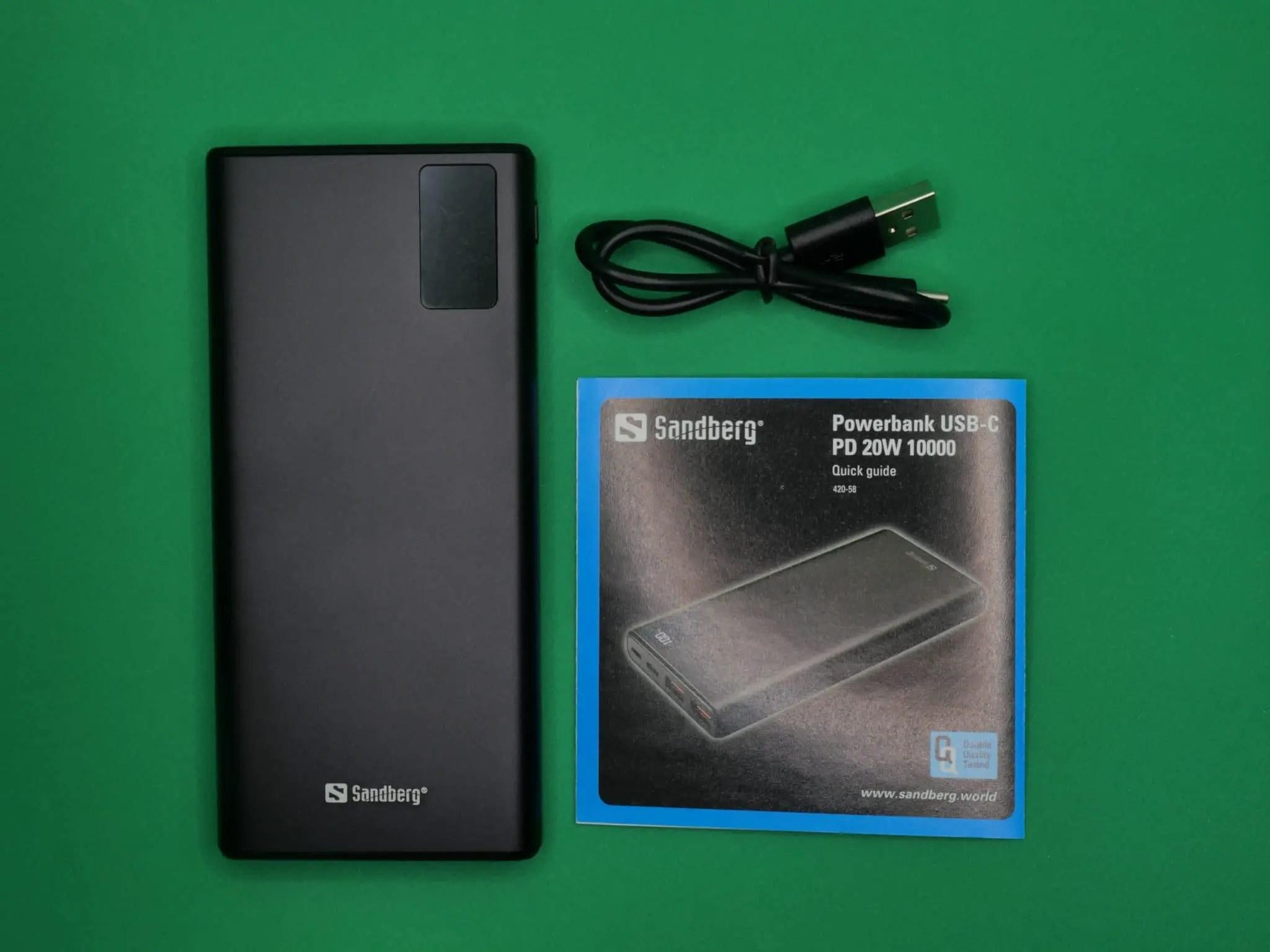 Powerbank Sandberg USB C PD 20W 10000 contenuto confezione scaled
