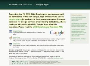 MSU Google Apps screen capture