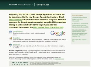 MSU Google Apps screen capture