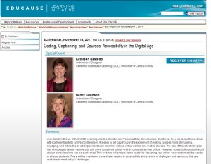 Screen capture of the ELI webinar page