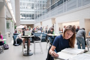 MSU Students study in Biomediacal and Physical Sciences building.