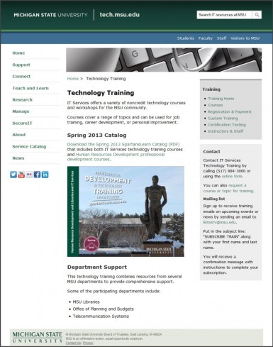Screen capture of tech.msu.edu/training