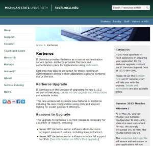 Screen capture of Kerberos page on tech.msu.edu