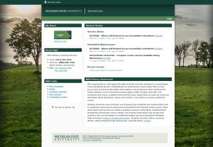 Screen capture of MSU Desire2Learn website