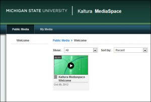 Screen capture of MSU Kaltura MediaSpace website