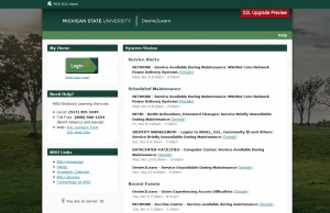 Screen capture of the D2L sanbox site previewing version 10.2.