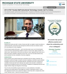 Screen capture of the 2014 AT&T Faculty-Staff Instructional Technology Awards entry page at http://attawards.msu.edu/how-to-enter/.