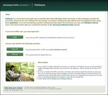 Screen capture of the MSU FileDepot website.