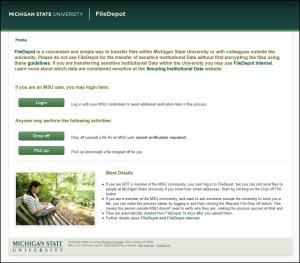 Screen capture of the MSU FileDepot website.