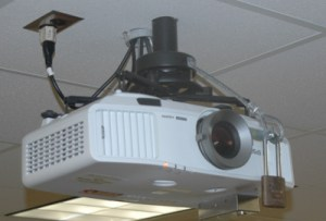 data projector mounted to ceiling