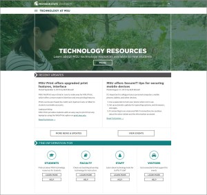 Screen capture of the relaunched tech.msu.edu home page.