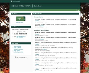 Screen capture of MSU D2L site at d2l.msu.edu