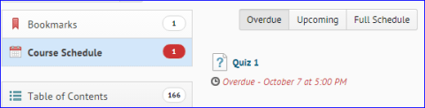The Overdue tab in the Course Schedule lists activities for students who have overdue items. This is one of the new features in D2L 10.6.