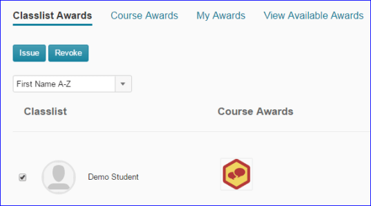 MSU D2L Classlist Awards link underlined, check by Demo Student and view of issued course awards