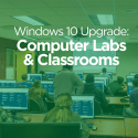 MSU classroom image reminding that computer labs and classrooms will be upgraded to Windows 10 software.