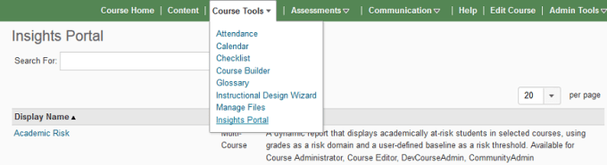 Course Tools menu pulldown including Insights Portal option