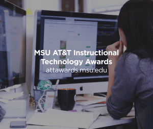 Woman at a computer. Image promote the MSU AT&T Instructional Technology Awards. More details at attawards.msu.edu.