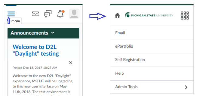 collapsed menu view with arrow pointing to additional menu options after clicking on hamburger menu icon