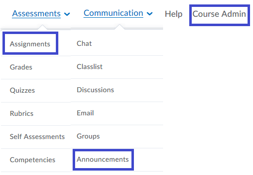 Assessments menu with Assignments boxed, Communication menu options with Announcements boxed, and Course Admin option boxed