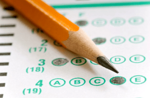 Scoring scantron form with pencil