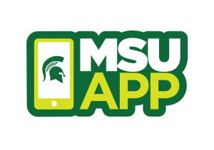 """The MSU App logo (a mobile phone next to text that reads """"MSU App"""""""