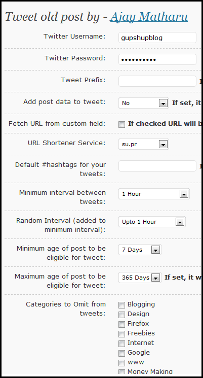 Configure Tweet Old  Post WordPress Plugin