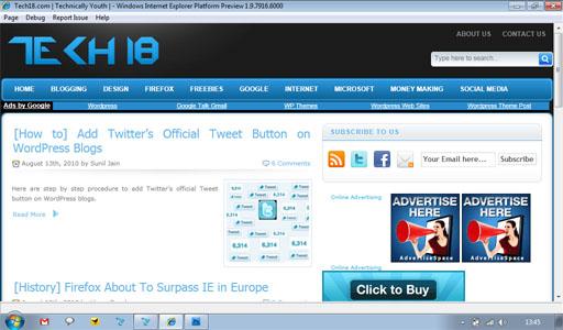 Internet Explorer 9 preview platform