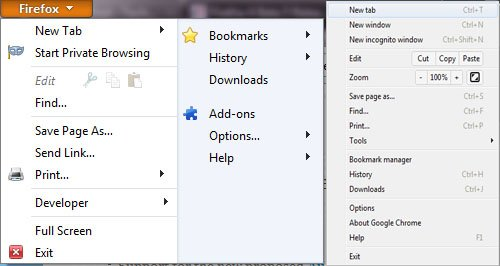 Firefox 4 beta 5 reduced menu
