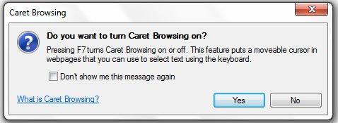 IE9 caret browsing