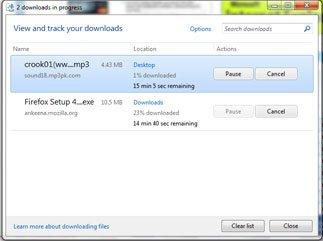 IE9 new download window