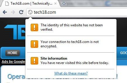 chrome 7 page info bubble