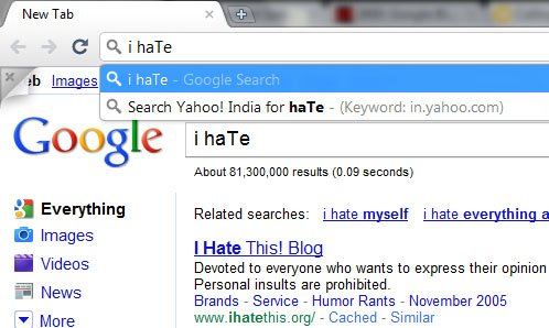 Google chrome 7 instant search blacklist