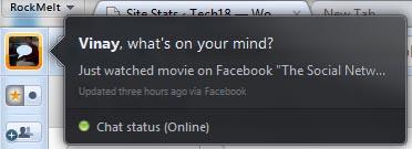 rockmelt browser facebook status preview